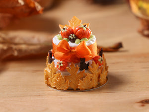 Two Tiered Cookie Leaf Cake for Autumn - 12th Scale Miniature Food