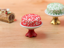 Load image into Gallery viewer, Modern Designer Christmas Cake 'Swirls' on Stand - Red or Green - Miniature Food