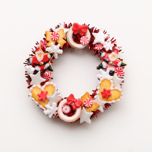Decorative Christmas Red Door Wreath with Cookies and Candies - Miniature Decoration