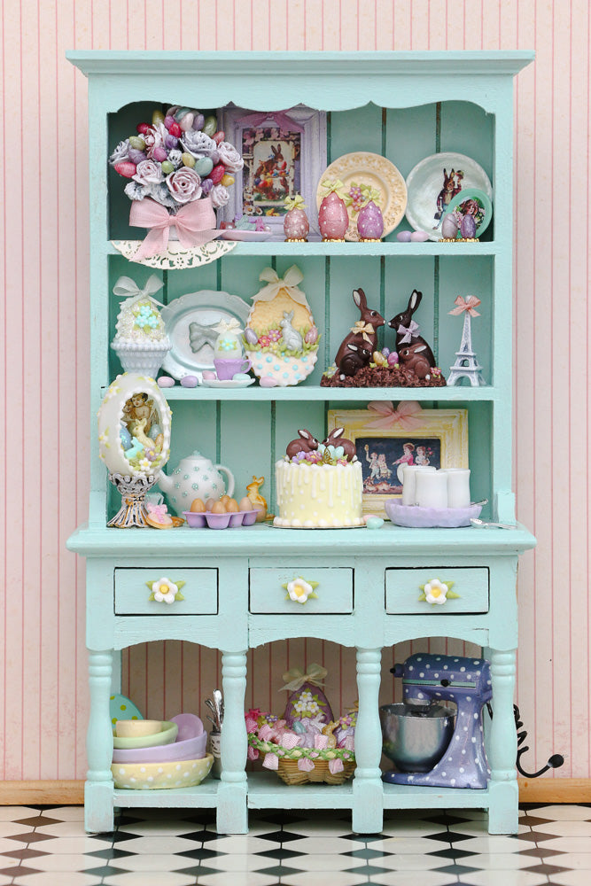 Unique Easter Shelf Unit Filled with Handmade Items- Decorated Miniature Furniture