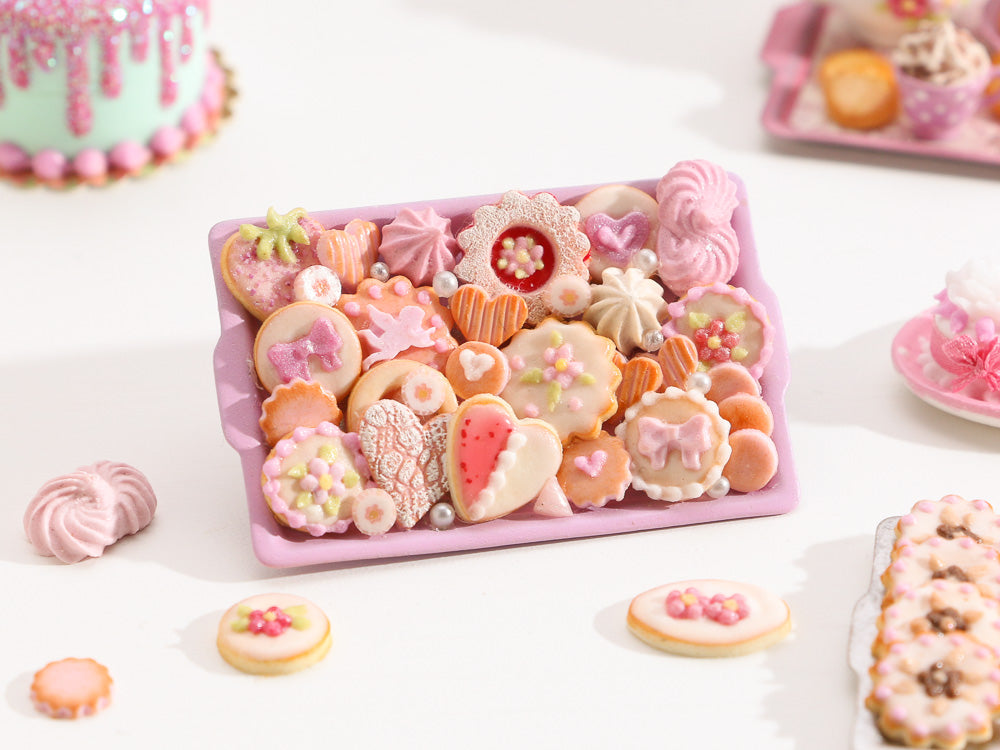 Beautiful OOAK Assortment of Pink-Themed Sweet Miniature Treats on Metal Baking Tray