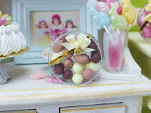 Load image into Gallery viewer, Chocolate Easter Eggs in Clear Round Gift Box - Miniature Food in 12th Scale
