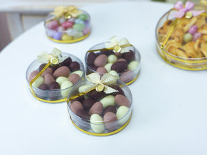 Chocolate Easter Eggs in Clear Round Gift Box - Miniature Food in 12th Scale