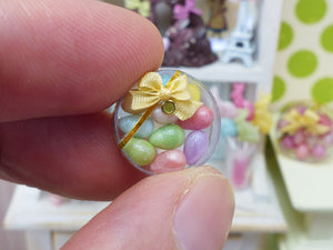 Colourful Candy Easter Eggs in Clear Round Gift Box (Large Eggs) - Handmade Miniature