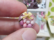 Load image into Gallery viewer, Shades of Pink Candy Easter Eggs in Clear Round Gift Box - Miniature Food in 12th Scale