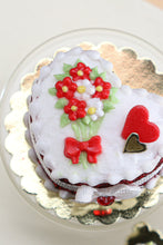 Load image into Gallery viewer, Handmade miniature heart-shaped Valentines Day cake in red by Paris Miniatures