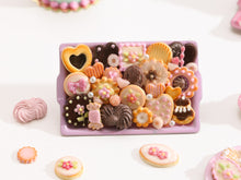 Load image into Gallery viewer, Unique Assortment of Pink & Chocolate Miniature Treats on Metal Baking Tray