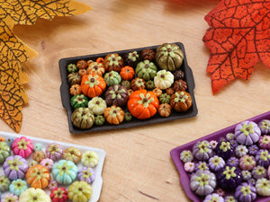 Pumpkin Tray D - Autumn Colours - OOAK Miniature Food for Autumn
