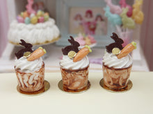 Load image into Gallery viewer, Chocolate Easter Sundae - Rabbit and Carrot Decoration - 12th Scale Miniature Food