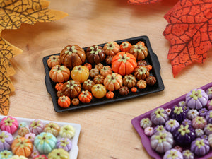 Pumpkin Tray E - Gold and Orange Autumn Colours - OOAK Miniature Food for Autumn