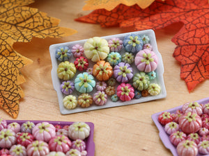 Pumpkin Tray F - OOAK Miniature Food for Autumn