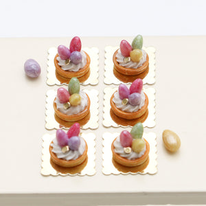 Easter Egg Cream Tartlet Individual Pastry - Pink or Spring Colours - Miniature Food