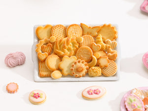 Assortment of Realistic Butter Cookies on Metal Baking Tray