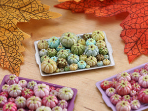 Pumpkin Tray G - Pretty Greens - OOAK Miniature Food for Autumn