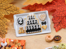 Load image into Gallery viewer, Tray of Cookies with Cameo, Cake - Black & White Theme - Miniature Food