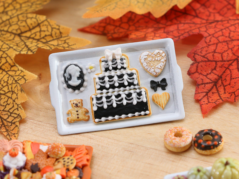 Tray of Cookies with Cameo, Cake - Black & White Theme - Miniature Food