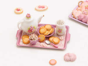 Pink Tea / Coffee time tray set with butter cookies and candy – Miniature Food