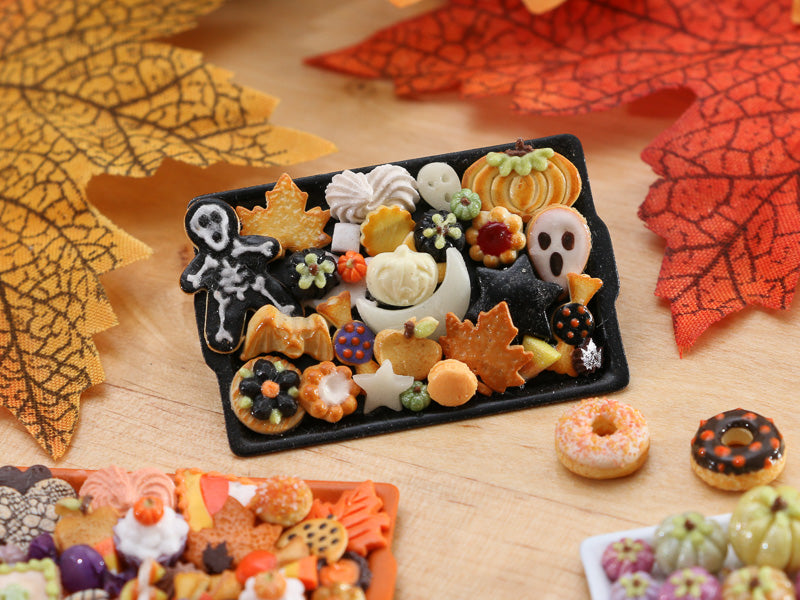 Unique Tray of Assorted Halloween Cookies on Black Tray - OOAK Miniature Food