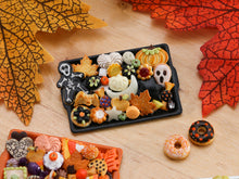 Load image into Gallery viewer, Unique Tray of Assorted Halloween Cookies on Black Tray - OOAK Miniature Food