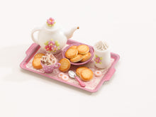 Load image into Gallery viewer, Pink Tea / Coffee time tray set with butter cookies and candy – Miniature Food