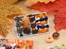 Load image into Gallery viewer, Tray of Halloween Cookies - Autumn Tree, Leaves, Black Cat, Wrapped Candy - Miniature Food