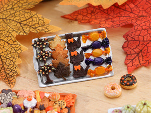 Tray of Halloween Cookies - Autumn Tree, Leaves, Black Cat, Wrapped Candy - Miniature Food