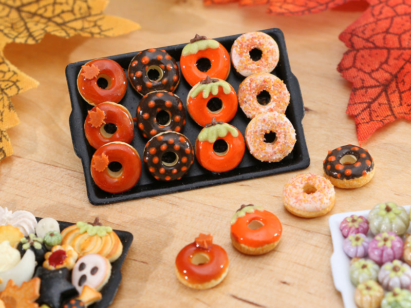 Tray of Decorated Miniature Donuts for Fall - Miniature Food
