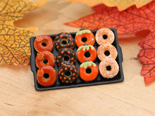 Load image into Gallery viewer, Tray of Decorated Miniature Donuts for Fall - Miniature Food