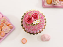 Load image into Gallery viewer, Pink Rose Glitter Drip Cake - Handmade Miniature Food