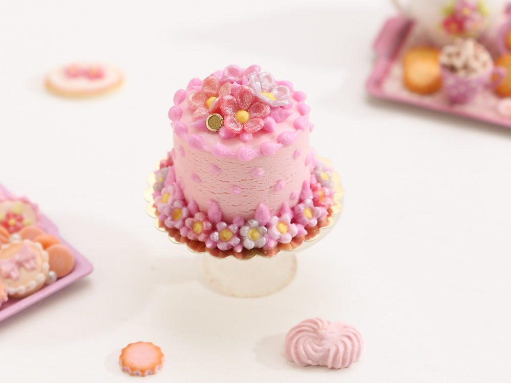 Pretty Pink Blossom and Polka Dot Cake - Miniature Food