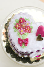 Load image into Gallery viewer, Handmade miniature heart-shaped Valentines Day cake in pink by Paris Miniatures