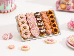 Assorted Butter Cookies on Metal Tray (Blossoms, Hearts, Religieuses, Chocolate) Miniature Food