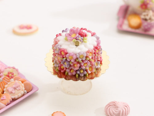 Pink Bountiful Blossoms Cake - Handmade Miniature Food