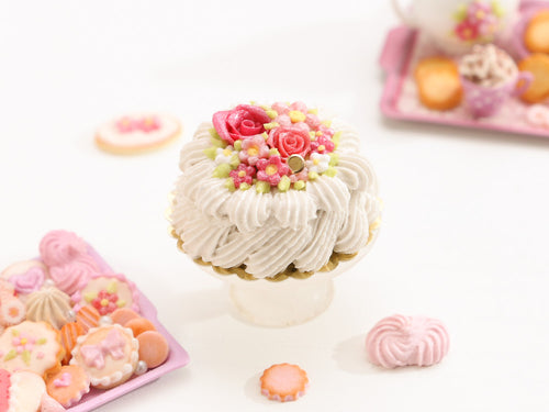 Pink Rose Cream Cake - Miniature Food