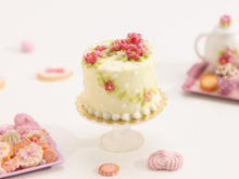 Load image into Gallery viewer, Floral Summer Cake with Pink Blossoms and Vines - Miniature Food