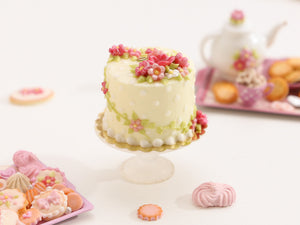 Floral Summer Cake with Pink Blossoms and Vines - Miniature Food