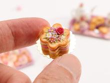 Load image into Gallery viewer, Flower Shaped Millefeuille Cream-Filled Sablé decorated with Pink Rose & Blossoms