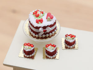 Handmade miniature heart-shaped Valentines Day cake in red by Paris Miniatures