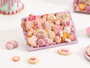 Beautiful OOAK Assortment of Pink-Themed Sweet Miniature Treats on Baking Tray (Large Teapot)