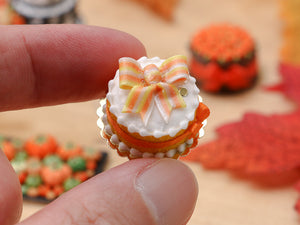 Orange and White Ribbon Cake for Autumn - Miniature Food