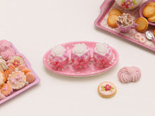 Load image into Gallery viewer, Plate of Three Pink Desserts with White Roses (OOAK) - Miniature Food