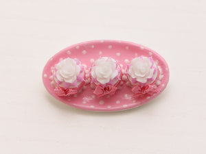 Plate of Three Pink Desserts with White Roses (OOAK) - Miniature Food