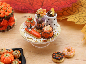 Presentation of Fall-Themed French Pastries - Miniature Food