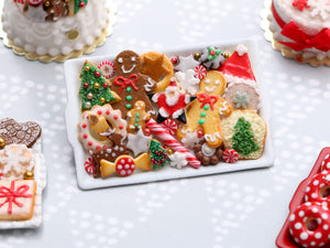 Christmas Cookies Selection on Tray 2020 B - OOAK - Handmade Miniature Food