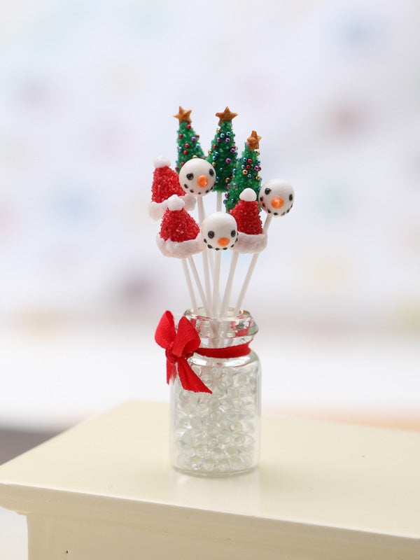 Christmas Cake Pops with Glass Presentation Jar - Set 2 - Miniature Food