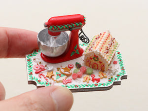 Christmas Cookie House Preparation Board with Kitchen Aid-type Mixer OOAK - Miniature Food