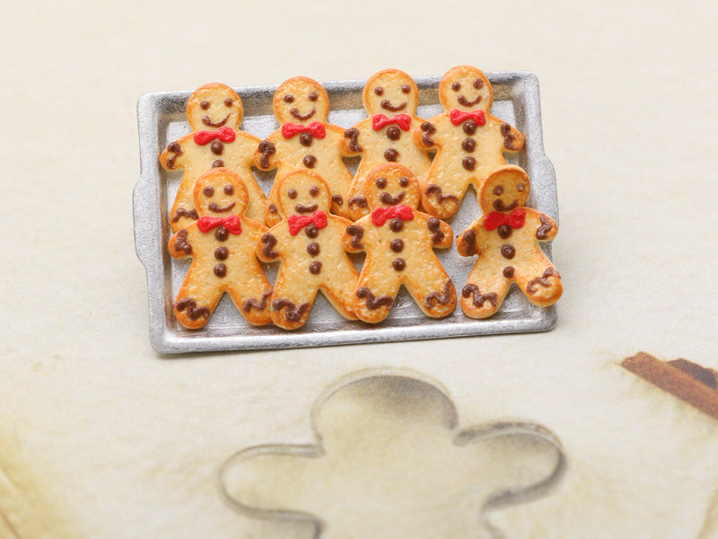 Tray of Cookie Men - One Escaping! (Chocolate Frosting) - Handmade Miniature Food