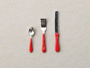 Miniature Cutlery Set - Knife, Fork and Spoon (Red)