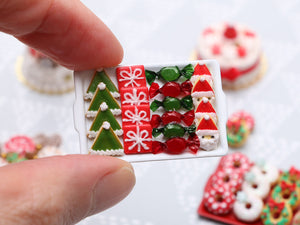 Christmas Cookies and Treats - Elf Hat, Gift, Wrapped Candy, Santa - Handmade Miniature Food