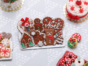 Christmas Gingerbread Cookies Selection on Tray 2020 D - OOAK - Handmade Miniature Food